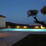 Pool and view by night Calonge